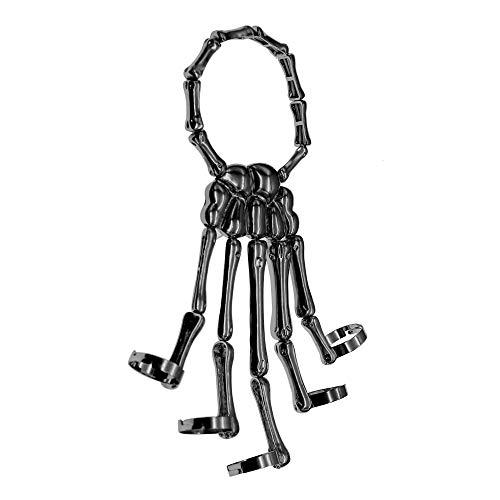 Trustavis Men Women's Halloween Skull Skeleton Hand Bracelet with Ring -