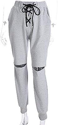 Pantalones de chándal Mujeres recortadas Color sólido Pantalones ...