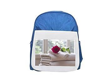 Toalla, rosa, limpia, cuidado, salón, mochila azul estampada Spa para niños