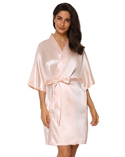 Suzicca Women Kimono Robe Short Satin Pure Color Sleepwear with Oblique V-Neck -