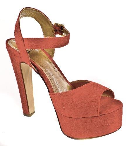 Rimose! Da Delizioso Platform Sandalo Con Cinturino Alla Caviglia E Tacco Alto In Ecopelle Scamosciata Rossa