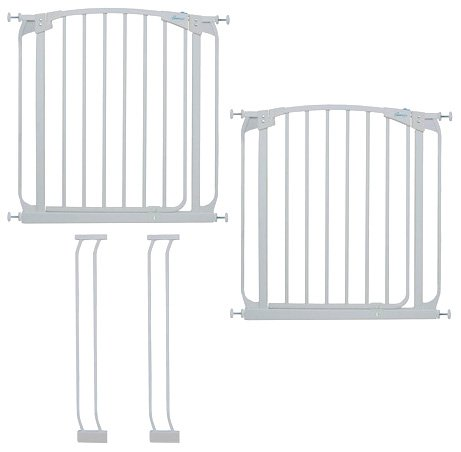 Dreambaby Chelsea Auto Close Security Gate in White Value Pack Includes 2 Gates and 2 Extensions