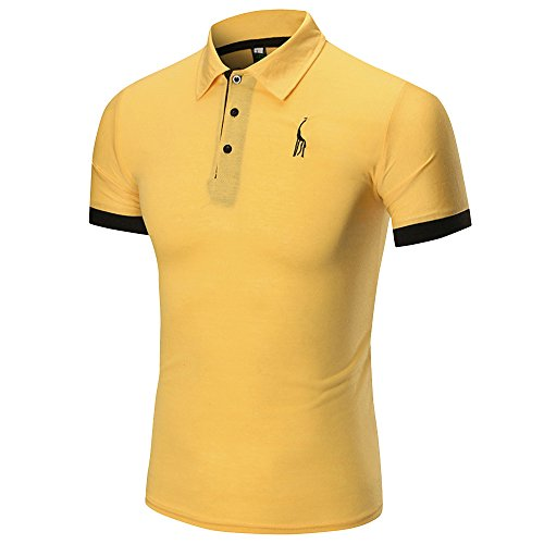 Birdfly Men Polo Dress Shirts Comfortably Collared Men's Perfect Slim Fit Casual Tops Plus Size 2L (M, Yellow) from Birdfly