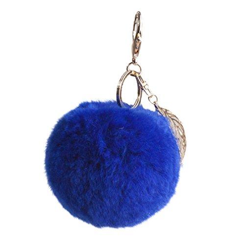 Key Chain with 8cm Real Rex rabbit Fur Pompom Leaf Pendant Car Keychain Handbag Key Ring - Fur Story (Royal Blue)