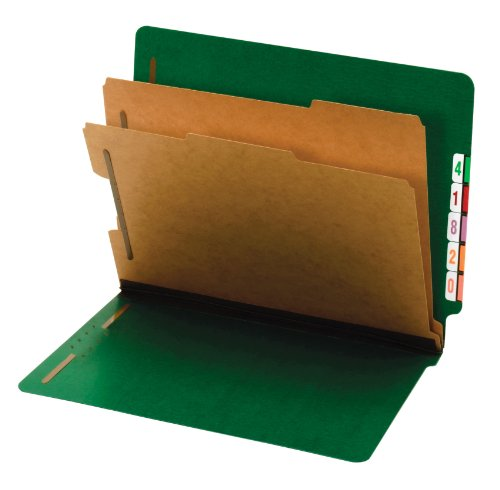 Globe-Weis/Pendaflex End Tab Classification Folders, 2 Dividers, 2-Inch Embedded Fasteners, Letter Size, Dark Green, 10 Folders Per Box (23785GW)