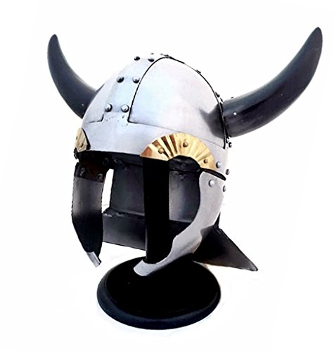 Viking Warrior Helmet with Real Horns - Medieval Costume - One Size Fits Most - Metallic