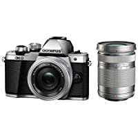 Olympus OM-D E-M10 Mark II Camera with 14-42mm Lens, Silver And M.Zuiko Digital ED 40mm-150mm f/4-5.6 R Lens, Silver