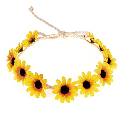Floral Fall Sunflower Crown Hair Wreath Bridal Headpiece Festivals Hair Band (YellowA) -