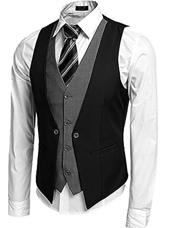 Mens Formal Slim Fit Business Dress Suit Button Down Vests at Amazon