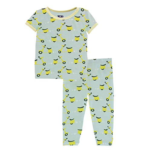 Kickee Pants Little Boys Kickee Custom Print Short Sleeve Pajama Set - Spring Sky Scooter and Lime Blossom, 3T