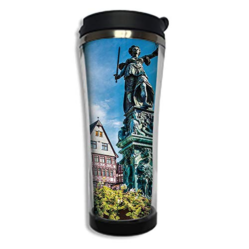 Stainless Steel Insulated Coffee Travel Mug,Spill Proof Flip Lid Insulated Coffee cup Keeps Hot or Cold 14.2oz(420 ml)Customizable printing byEuropean,Old City of Frankfurt Germany with Historical ()