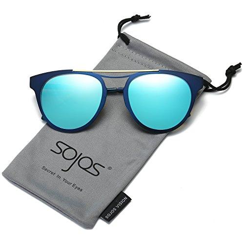 161001a69bb SojoS Cat Eye Polarized Womens Sunglasses Metal Frame Mirror Lens SJ1067  with Blue Frame Blue