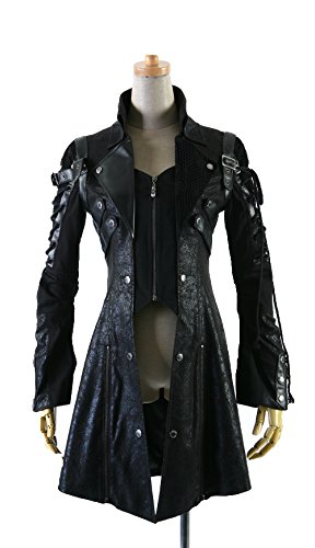 Punk Rave Men's Punk Trench Coat Gothic Bright PU Leather Full Zip Stand Collar Long Jacket Coat Black XL