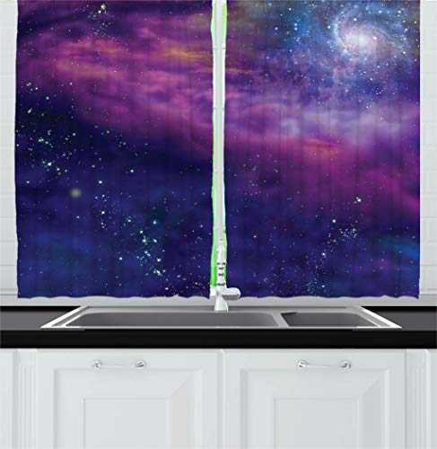 e Decor Kitchen Curtains, Spiritual Dim Star Clusters Milky Circle Back with Solar System Elements, Window Drapes 2 Panels Set for Kitchen Cafe, 55 W X 39 L Inches, Purple Blue ()