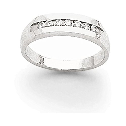 14k White Gold AA Diamond Men's Channel Band Diamond quality AA (I1 clarity, G-I color) (Channel Aa Mens Diamond Band)