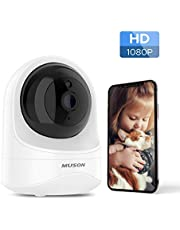 Muson WiFi Home Camera for Baby/Pet/Nanny 1080P HD Indoor Wireless Surveillance Camera with Motion Detection, Night Vision, Two-Way Audio, Compatible with Alexa, Compatible with Smartphones, White