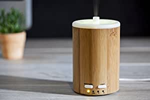 150ml Aromatherapy Essential Oil Diffuser,Ultrasonic Aroma Humidifier (Up to 8H Use, Mist Control, Waterless Auto Shut-Off, 4 Timer Settings, 7 Color LED Lights) by Wasserstein (Bamboo)