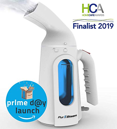PurSteam Mighty Lil' Steamer 7 in 1 Garment Steamer for Clothes, Removes Wrinkles/Steams/Softens/Cleans/Sanitizes/Sterilizes and Defrosts with its UltraFast-Heat Aluminum Heating Element - Auto Off