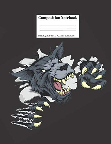 Composition Notebook: Werewolf Ripping Through Wall With Claws