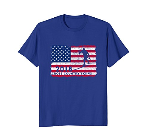 Mens Cross Country Nordic Skiing Tee Shirt Usa American Flag 2018 Large Royal Blue