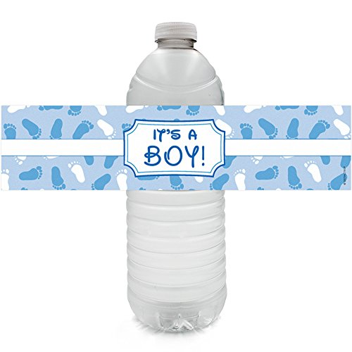 DISTINCTIVS Boy Baby Shower Favors Water Bottle Labels, 20 Count (Blue Baby  Boy)