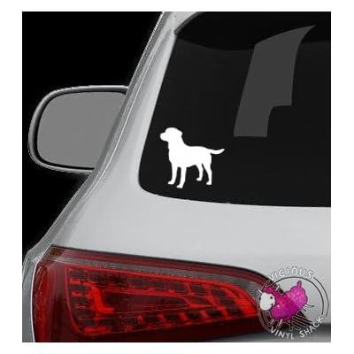 Labrador Retriever Silhouette 4 inches WHITE Vinyl Decal for Car Window: Everything Else