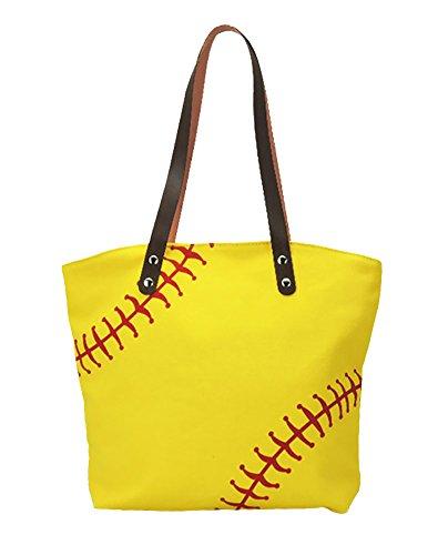 H&N Large Baseball Tote Bag Sports Printing Utility Top Handle Casual Shoulder Bag Yellow