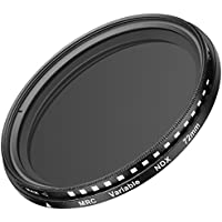 Neewer 72MM Ultra Slim ND2-ND400 Fader Neutral Density Adjustable Lens Filter for Camera Lens with 72MM Filter Thread Size, Made of Optical Glass and Aluminum Alloy Frame