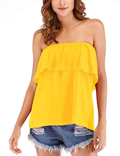 (Hioinieiy Women's Summer Casual Off Shoulder Tube Top Chiffon Sleeveless Flowy Blouse Strapless Ruffle Swing Shirt Yellow L)