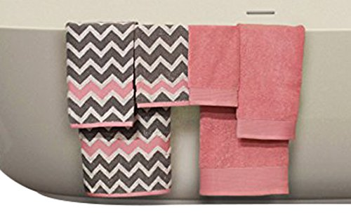 Pacific Coast Textiles 5YDCVRNG 600 GSM 100% Cotton Yarn Dyed Chevron Towel Set, Grey/Pink, Standard (6 Piece) - Bath- 27 x 54, Hand- 16x28 inch, Wash- 13 x 13 inch Machine Washable - bathroom-linens, bathroom, bath-towels - 41Wd9Nsib9L -