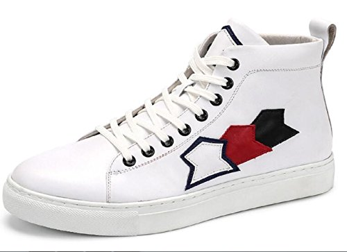 Happyshop(TM) Mens Fashion Sneaker Sport Shoe Lace-ups Leather Casual Shoes Ankle Boots White MBYjJTS