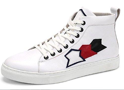 Happyshop (tm) Zapatillas Moda Para Hombre Zapatillas Deportivas Con Cordones Zapatos Casual De Cuero Botines Blancos