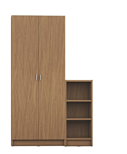 Manhattan Comfort Greenwich 2 Piece Trente 2.0 and Tall 1.0 Horizontal Bookcase Collection Modern Free Standing Bookcases with Closed Base, Combined 9 Shelves, White Matte/Maple Cream