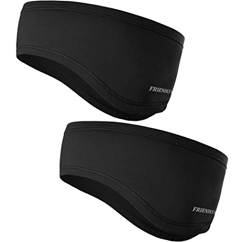 The Friendly Swede Headband - 2-Pack - Sweatband, Ear Warmer, Sports Headband for Running, Cycling, Workout, Hiking, Motorcycle (Black)