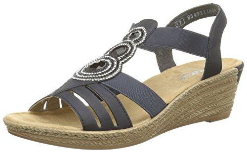 Rieker 62459-14, WoMen Heels Sandals Blue (Navy)