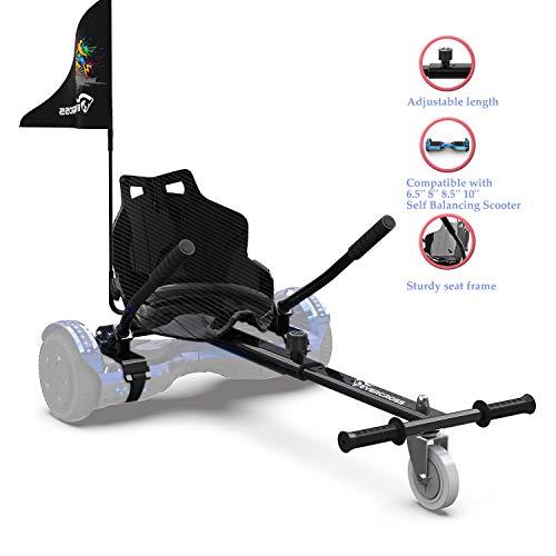 NEOMOTION Hoverkart Asiento Hoverboar Hoverkart para Hoverboard Compatible con a Hoverboard 6.5-10″ con Bandera