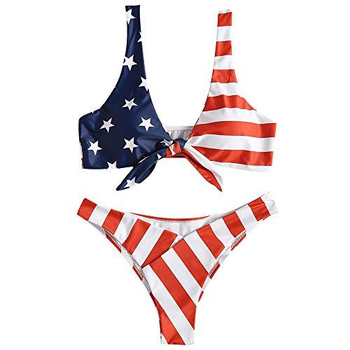 ZAFUL Women's American Flag Tie Knot Front High Cut Two Piece Bikini Set (Love Red, S) (Bikini Patriotic)