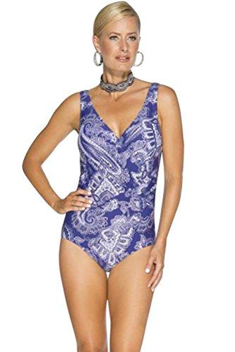 TOGS Purple Metallic Surplice One Piece Swimsuit Size 12 by TOGS