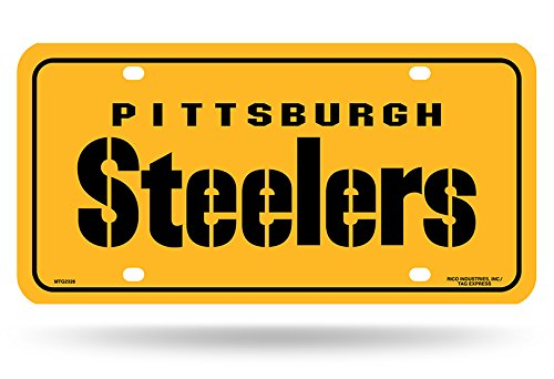 "NFL Pittsburgh Steelers ""Team Name"" Metal Auto Tag, Yellow at Steeler Mania"