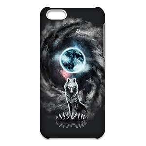 Custom Retro Deer Tribal Totem Wolf Pattern Plastic Hard Case for iPhone 5C 3d Case