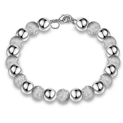 Steel Stainless Sand Bracelet Cuff (FAVOT 2019 New Silver Plated Sand Round Beads Bracelet Simple Classic Fashion Design Silver Bracelet (Silver))