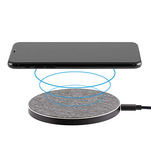 Philips Fabric Wireless Charger, Qi-Certified for iPhone 11, Pro, Max, XR, XS Max, XS, X, 8, Plus, 10W Fast-Charging Galaxy S10 S9 S8, Note 10 Note 9 and More, Gray, DLP9035BC/27