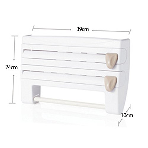 Amazon.com: 4-in-1 Wall-Mount Paper Towel Holder | Plastic Wrap and Foil Dispenser with Spice Rack | White (15.353.949.45inch, White): Kitchen & Dining