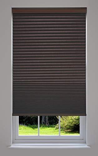 Decor Avenue Custom Cordless 44 1 2 W x 72 to 78 H Chocolate Blackout Cellular Shade Inside Mount