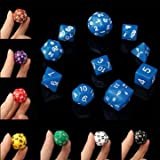 Board Game Toys - 10pc Set D4-D30 Multi-Sided Dices Trpg Games Gaming Dices 8color - Mugful Metallic Element Coloring Colouring Dark D Dungeons Dragons Opaque Colors-With Gold Die