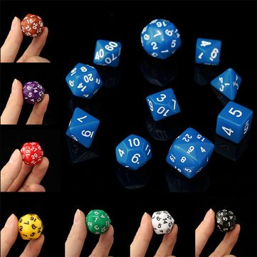 Board Game Toys - 10pc Set D4-D30 Multi-Sided Dices Trpg Games Gaming Dices 8color - Mugful Metallic Element Coloring Colouring Dark D Dungeons Dragons Opaque Colors-With Gold Die by Unknown
