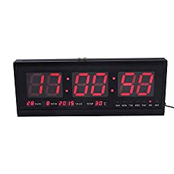 Yosoo Large Digital Big Jumbo LED Wall Timer Alarm Battery Clock With Calendar Temperature (Red)