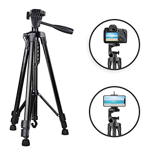 Camera Tripod, Heorryn 55-inch SLR DSLR Tripod Video Tripod Compatible for Canon Nikon Sony Olympus DV 360 Panorama, 1.65Lb Lightweight Aluminum Alloy with Travel Bag (Black)