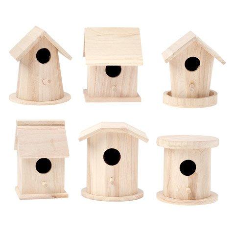 Bulk Buy: Darice DIY Crafts Wood Birdhouse Finch Promo Assortment 5-7 inches each (6-Pack) - Wood Birdhouses