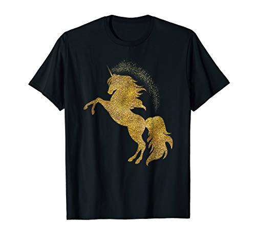 Golden Cute Glitter Beautiful Unicorn T Shirt Gold Tee